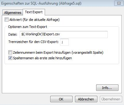 Konfigurationsdialog zum Text-Export-Plugin