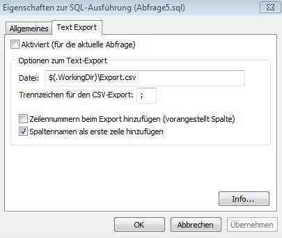 Konfigurationsdialog zum Text-Export-Plugin